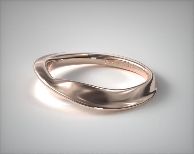 14K Rose Gold Bypass Wedding Band
