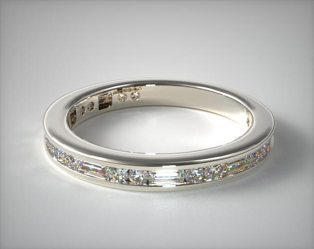 14811W | Alternating Baguette and Round Diamond Wedding Ring ...