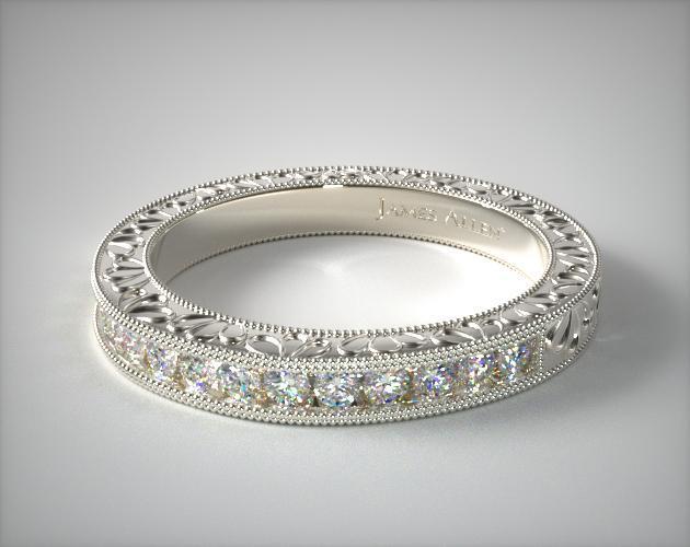 14K White Gold Hand Engraved Channel Set Round Brilliant Diamond Wedding Ring