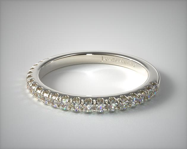 14K White Gold Perfectly Fit Pave Diamond Wedding Ring