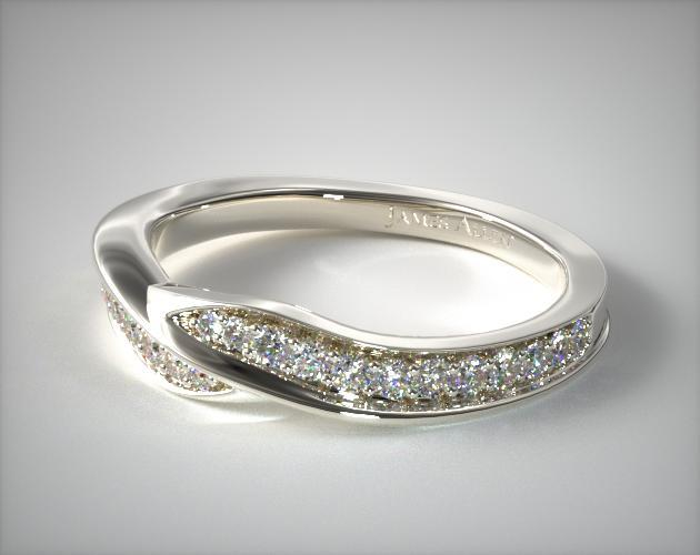 Platinum Perfectly Matched Pave Bypass Wedding Ring