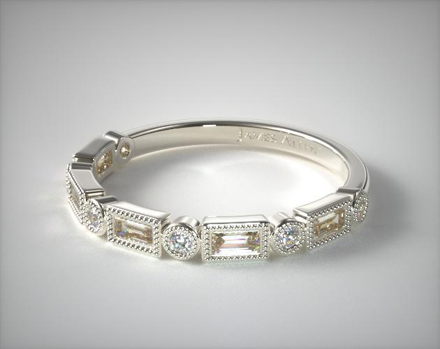 Round and Baguette Milgrain Diamond Wedding Ring | 14K White Gold ...