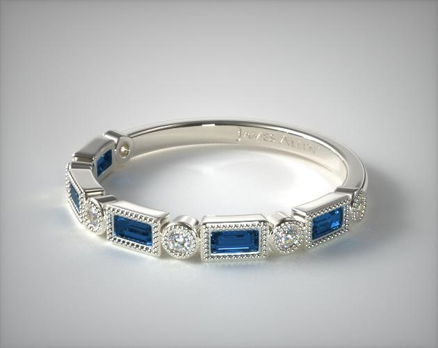 14K White Gold Diamond and Sapphire Baguette Milgrain Ring
