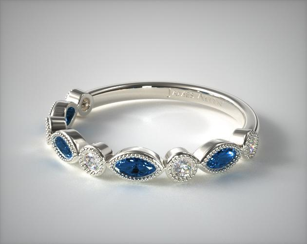 14K White Gold Round Brilliant Diamond and Marquise Sapphire Wedding Ring