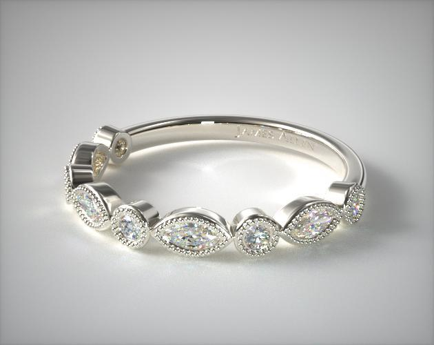 Round And Marquise Diamond Wedding Ring
