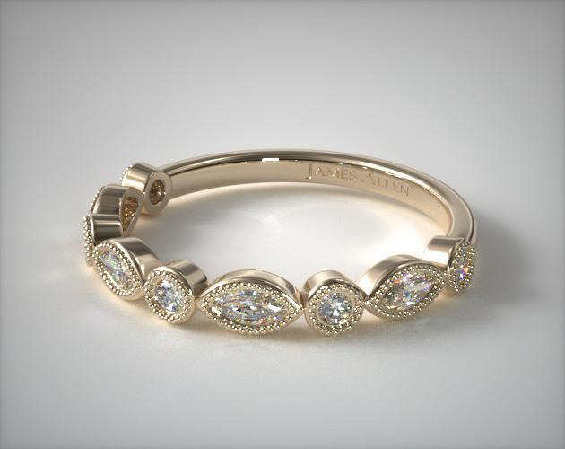 14K Yellow Gold Round and Marquise Diamond Wedding Ring