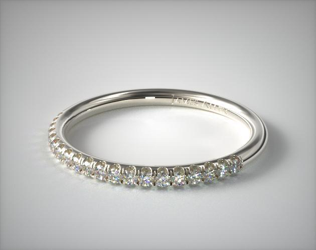 14K White Gold Falling Edge Matching Pave Diamond Ring