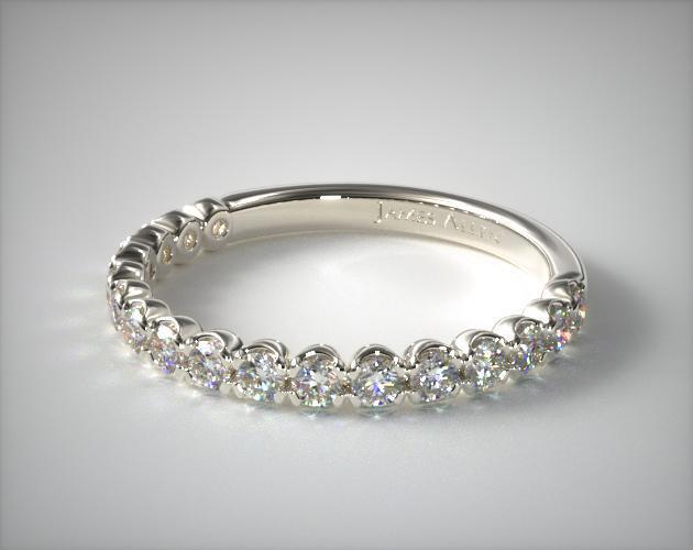 14K White Gold Scallop Style Diamond Wedding Ring