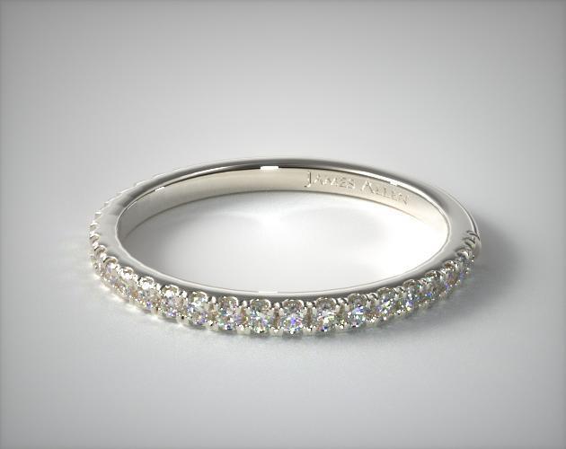 14K White Gold Slightly Curved Round Diamond Wedding Ring