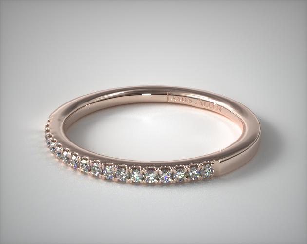 14K Rose Gold U Pavé Wedding Ring
