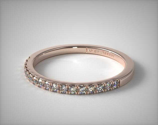 14K Rose Gold Matching Pave Wedding Band