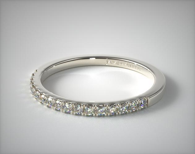 14K White Gold Matching Pave Wedding Band