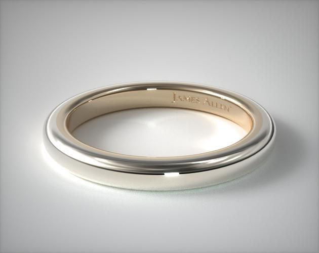14K Gold Two-Tone 2.2mm Comfort Fit Wedding Band