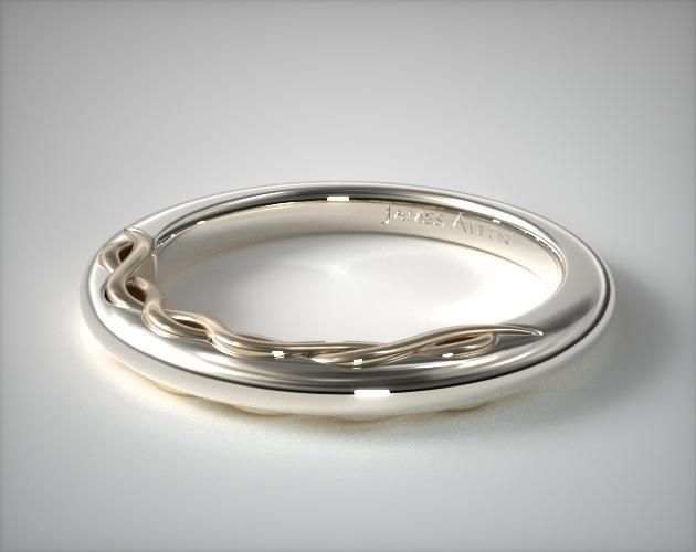 Infinity Wedding Band.14k Gold Two Tone 2 0mm Comfort Fit Infinity Pattern Wedding Band