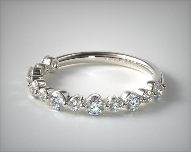 14K White Gold Shared Prong Alternating Diamond Ring