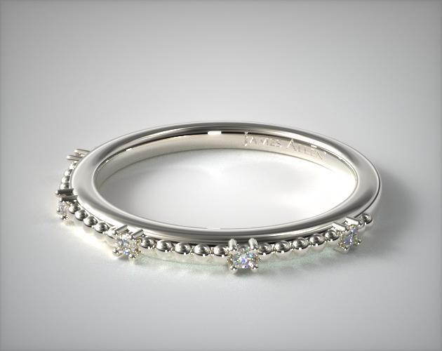 18K White Gold Beaded Diamond Ring