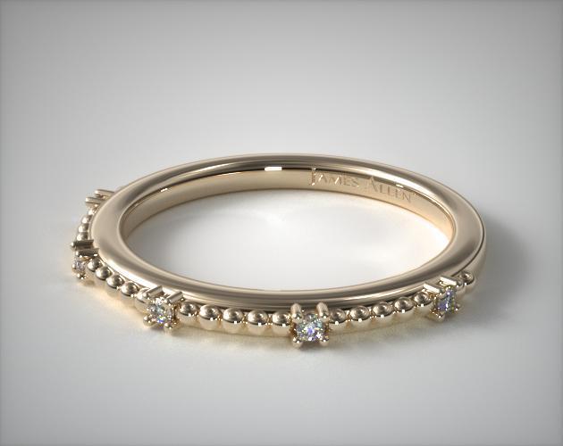 18K Yellow Gold Beaded Diamond Ring