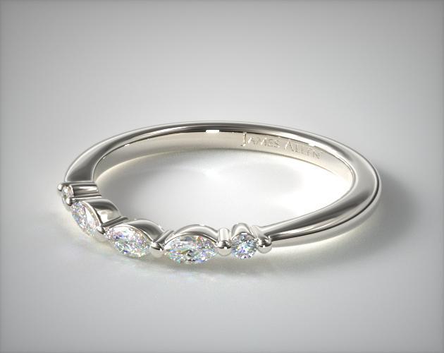 14K White Gold Trailing Diamond Matching Wedding Ring.