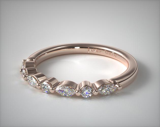 14K Rose Gold Marquise and Round Alternating Diamond Ring