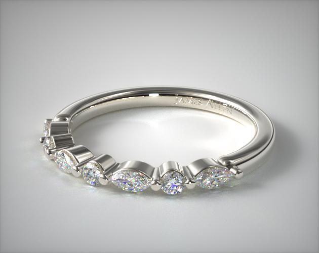 14K White Gold Marquise and Round Alternating Diamond Ring