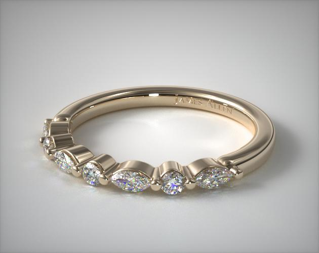 14K Yellow Gold Marquise and Round Alternating Diamond Ring