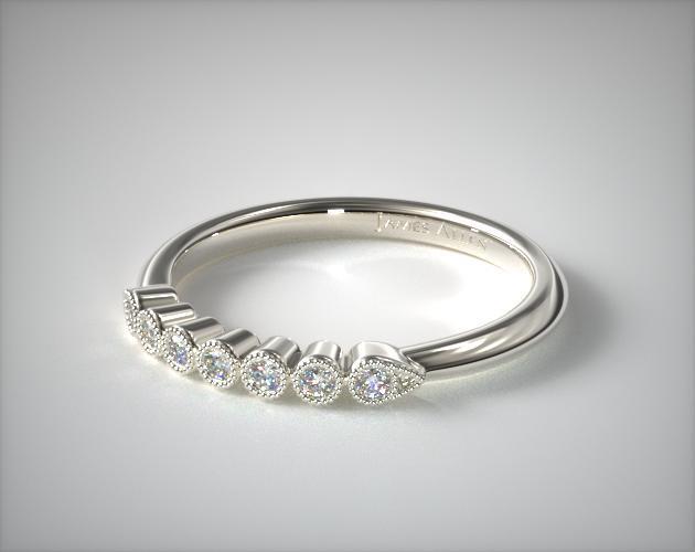 14K White Gold Beaded Bezel Diamond Ring