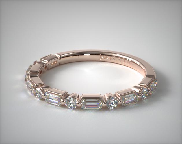 14K Rose Gold Baguette and Round Alternating Diamond Ring
