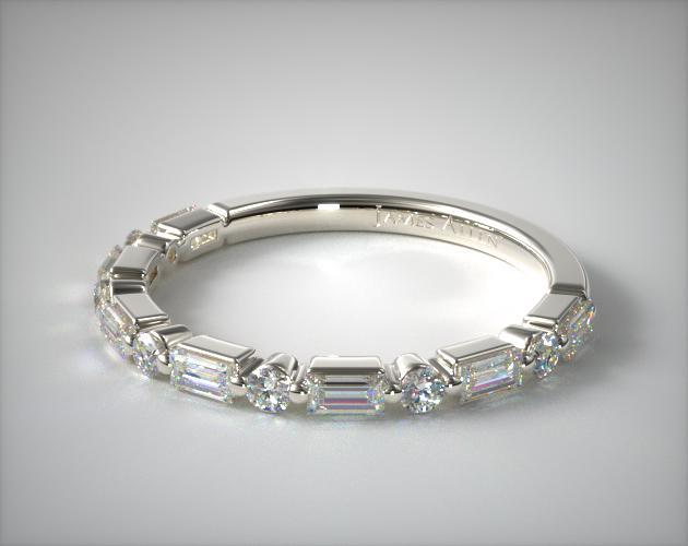 14K White Gold Baguette and Round Alternating Diamond Ring