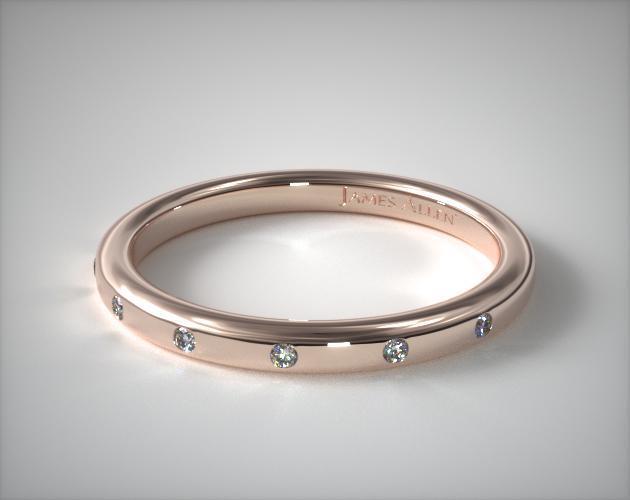 14K Rose Gold Sleek Accent Diamond Ring