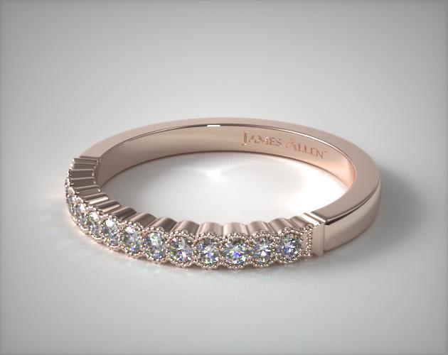 14K Rose Gold Regal Diamond Matching Wedding Ring