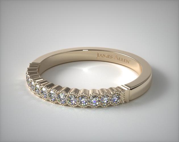 14K Yellow Gold Regal Diamond Matching Wedding Ring