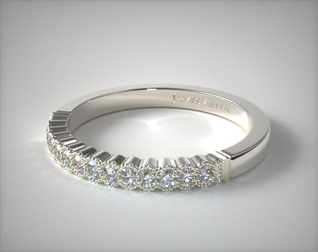 14K White Gold Regal Diamond Matching Wedding Ring