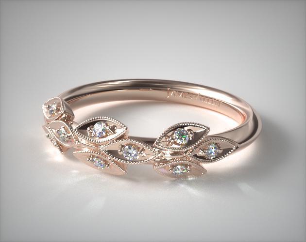 14K Rose Gold Navette Leaf Diamond Ring