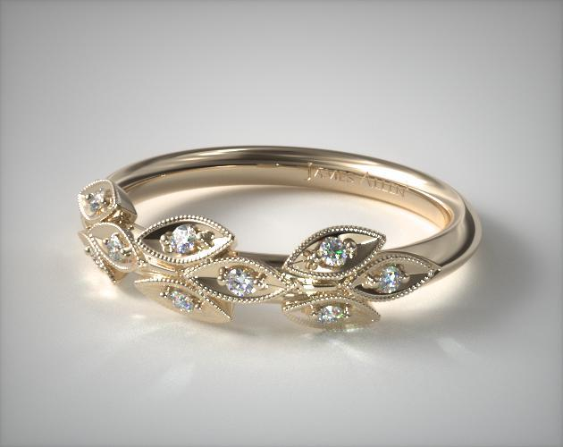 14K Yellow Gold Navette Leaf Diamond Ring