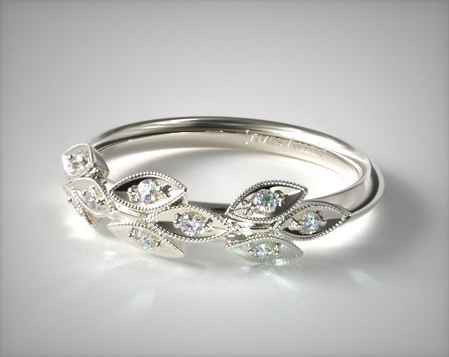 14K White Gold Navette Leaf Diamond Ring