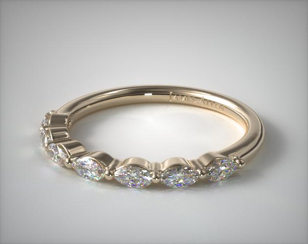 18K Yellow Gold Shared Prong Marquise Diamond Ring