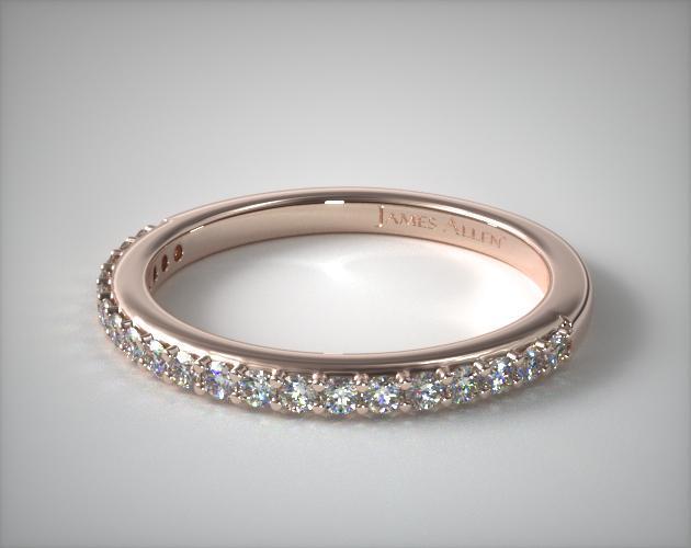 14K Rose Gold Antique Clover Pavé Matching Wedding Ring
