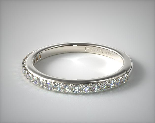 14K White Gold Antique Clover Pave Matching Wedding Ring