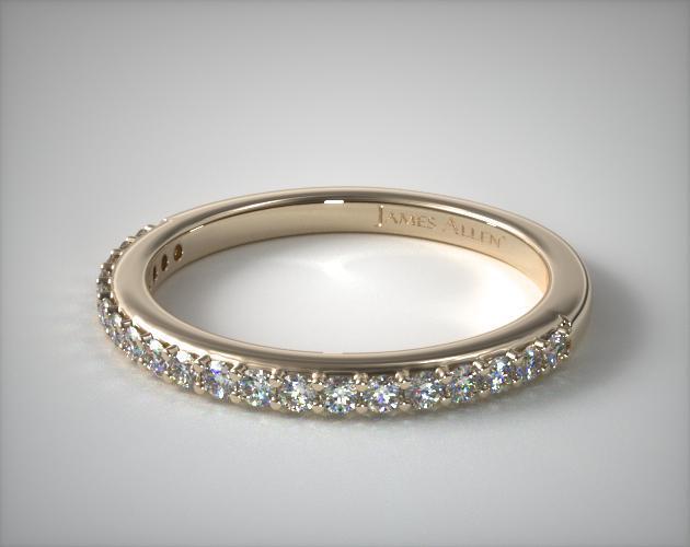 14K Yellow Gold Antique Clover Pavé Matching Wedding Ring