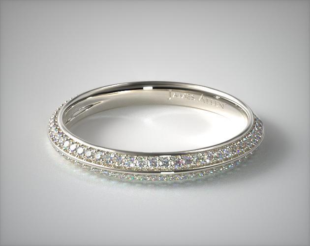 14K White Gold Pave Knife Edge Matching Wedding Ring