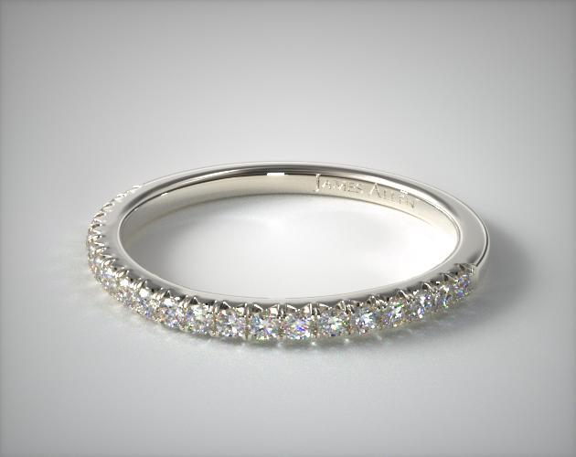 18K White Gold Cushion Outline Matching Wedding Band