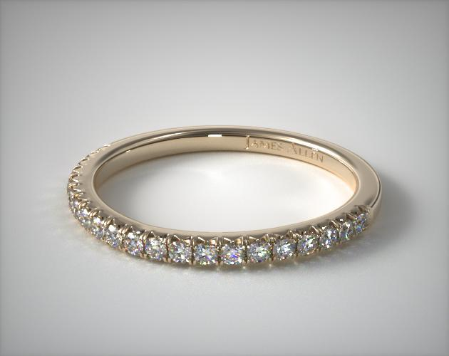 14K Yellow Gold Cushion Outline Matching Wedding Band