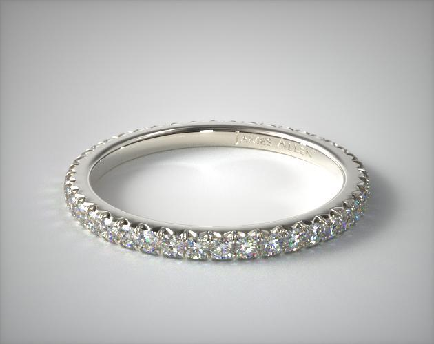 14K White Gold Cushion Outline Matching Eternity Wedding Band