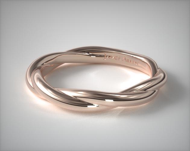 14K Rose Gold Matching Rope Wedding Ring