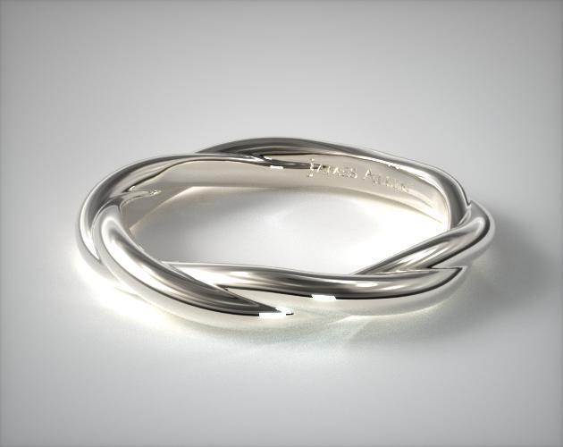 Platinum Matching Rope Wedding Ring