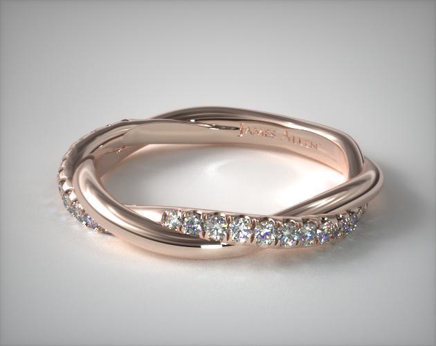 14K Rose Gold Twisted Matching Pavé Wedding Ring