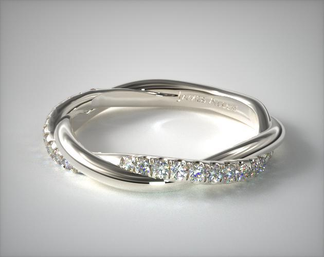 14K White Gold Twisted Matching Pave Wedding Ring