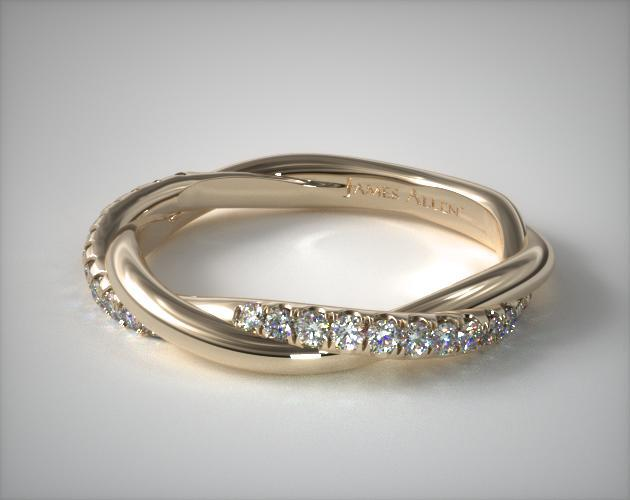 18K Yellow Gold Twisted Matching Pave Wedding Ring