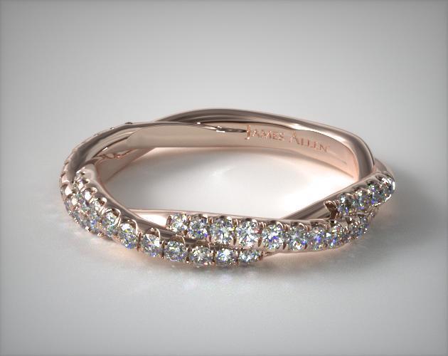 14K Rose Gold Matching Pavé Rope Wedding Ring