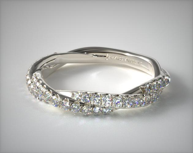 18K White Gold Matching Pavé Rope Wedding Ring